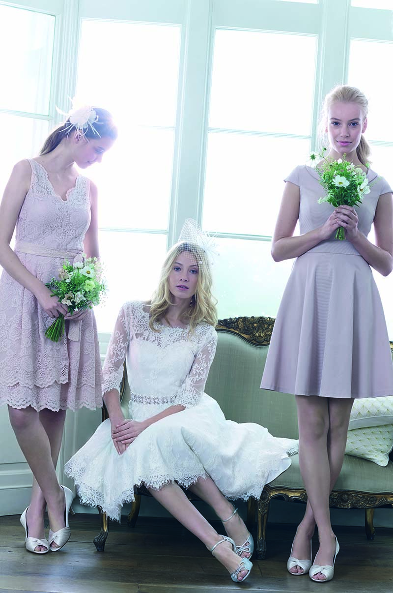 Milly Lace Layer Dress £140, Cressida Wedding Dress £395, Nicola Grosgrain Dress £150 - Phase Eight 2016 Bridal Collection Www.phase-eight.com