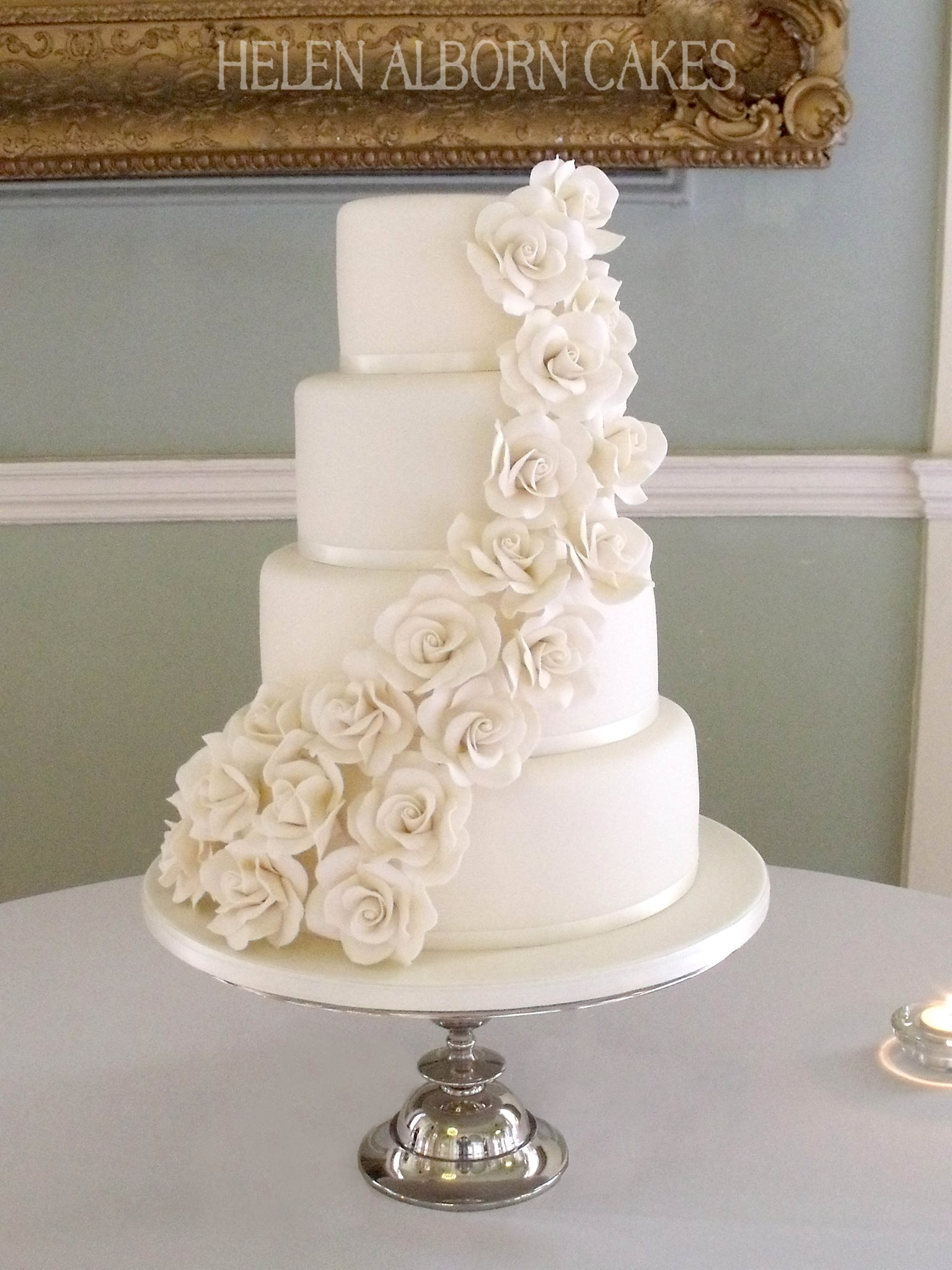 Ivory Roses Wedding Cake by Helen Alborn Cakes