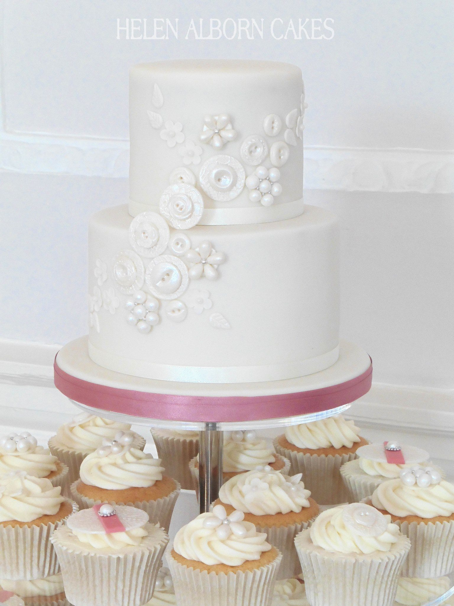 Button Bouquet inspired wedding cake by Helen Alborn Cakes
