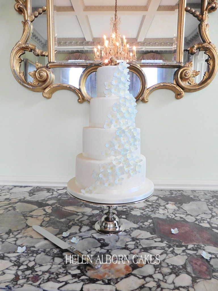 Blue Hydrangea Wedding Cake by Helen Alborn Cakes