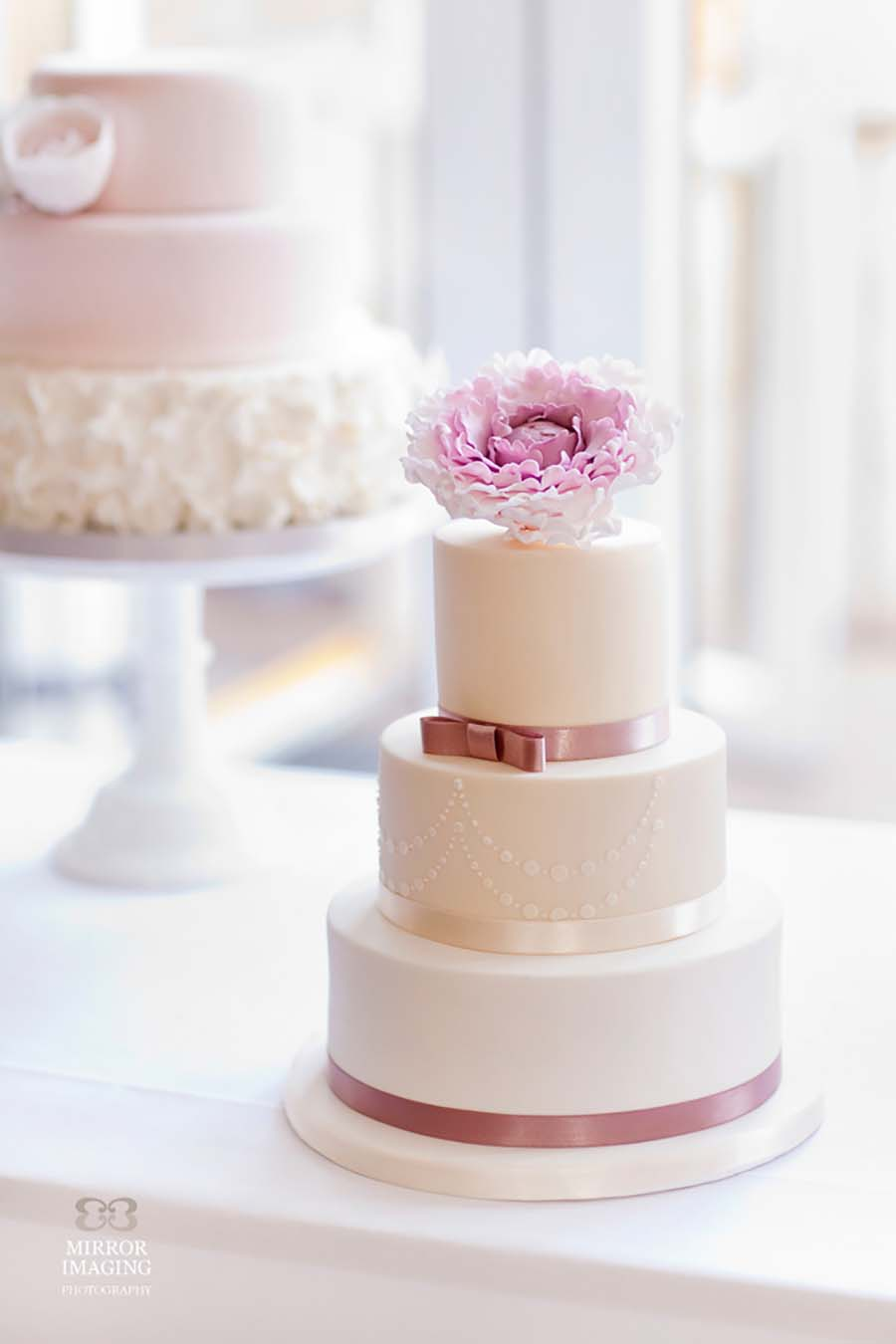3 Tier Wedding Cake With Pink Peony