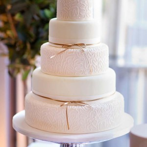 5 Tier Wedding Cake With Gold Ribbob
