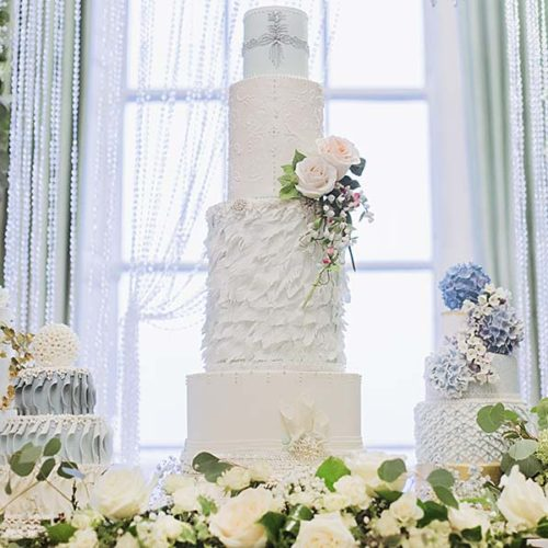 Blue And White Wedding Cakes With Flowers