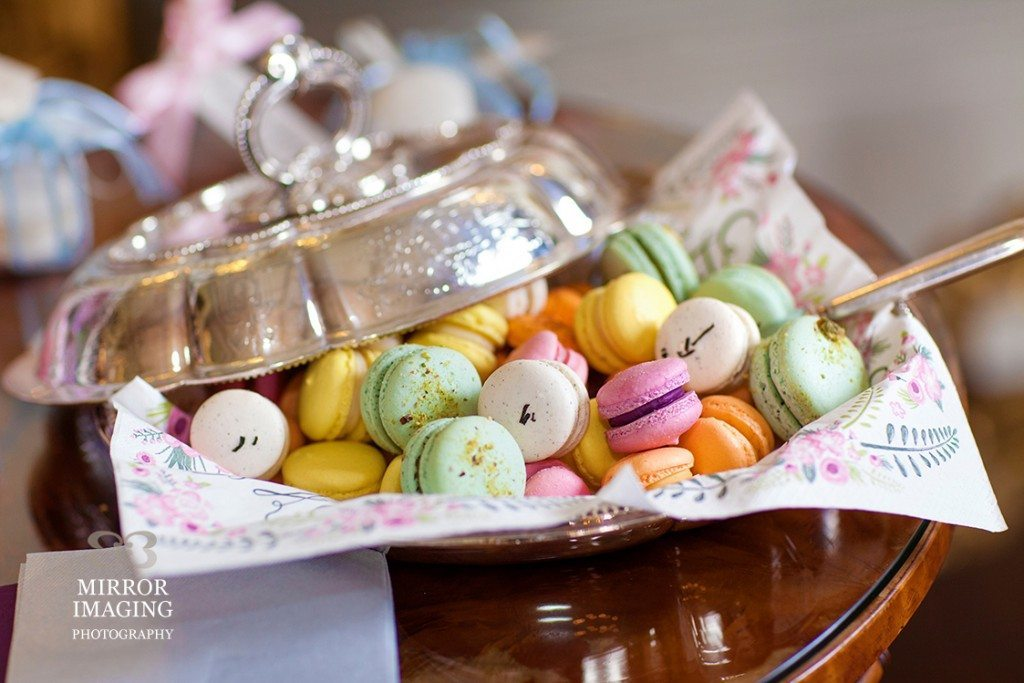 silver bowl of macarons