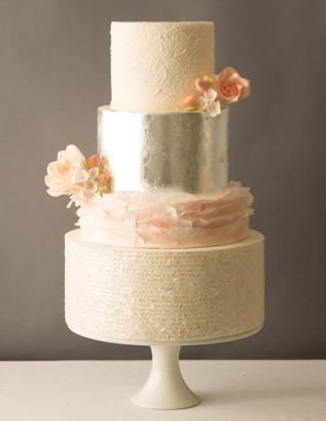 Beatrice Wedding Cake With Metallic Silver