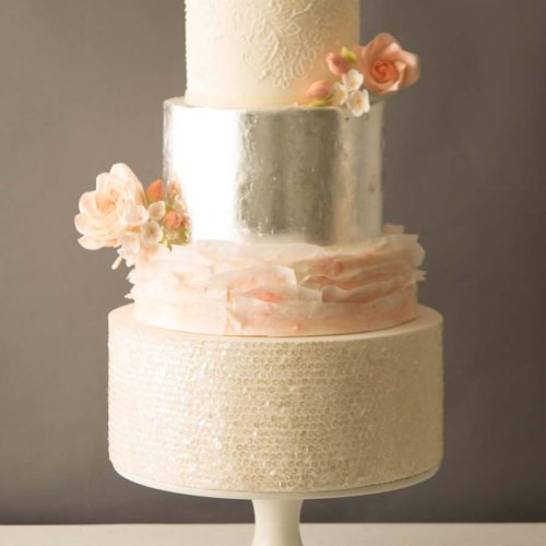 Beatrice Wedding Cake With Metallic Silver