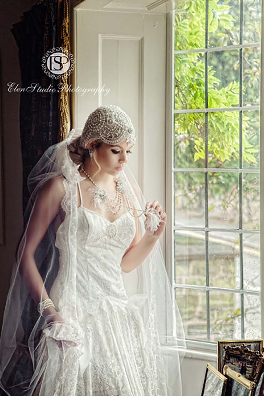 Couture Wedding Dress And Vintage Veil