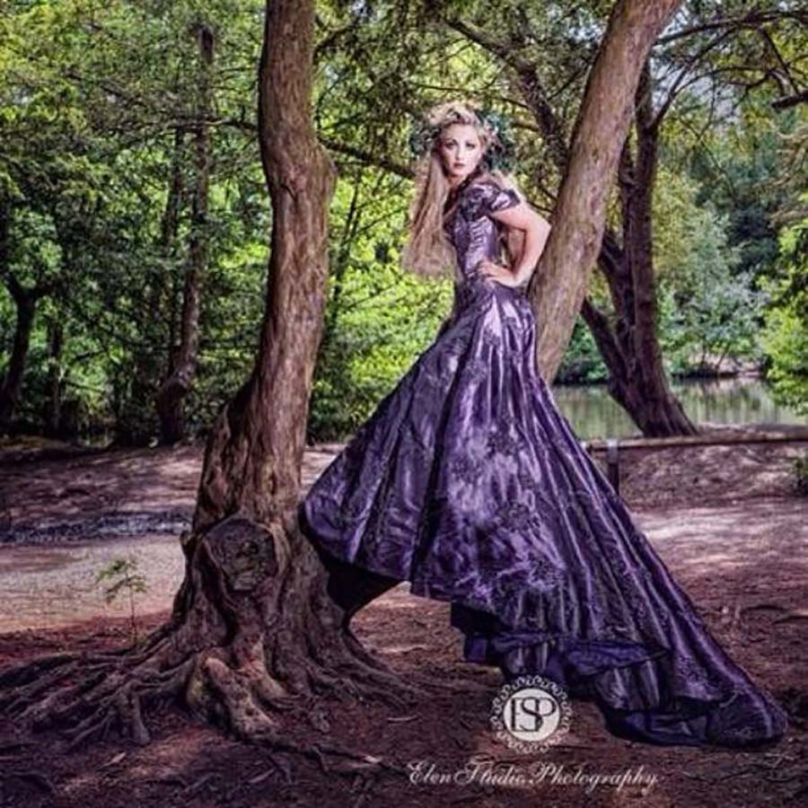 Purple Couture Wedding Dress