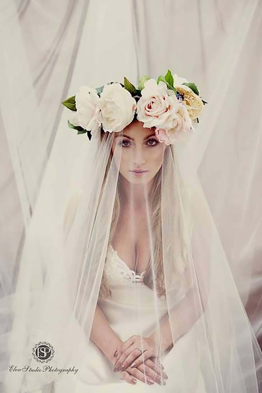 Floral Crown And Couture Veil