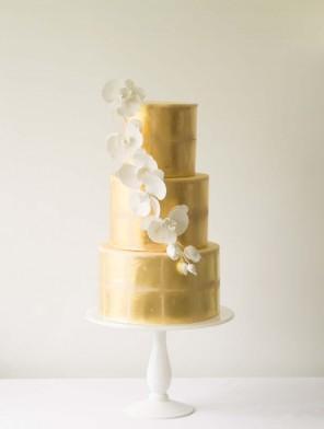 Gold Metallic Wedding Cake