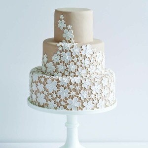 3 Tier Wedding Cake With Iced Flowers