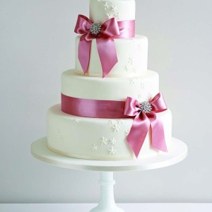 Wedding Cake With Pink Ribbon