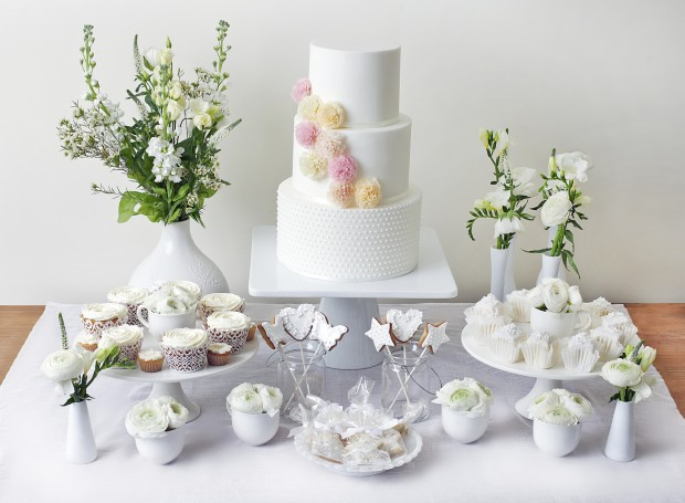 White Dessert Table - With Alice Cake By The Abigail Bloom Cake Company, London - Www.theabigailbloomcakecompany.com 020 7278 0835