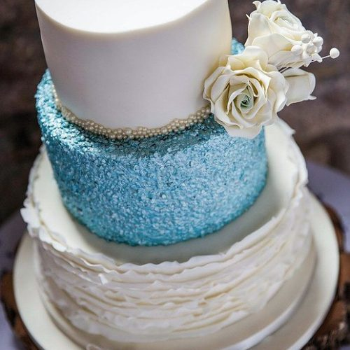 Sparkly Blue Wedding Cake