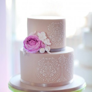 2 Tier Wedding Cake With Ribbon