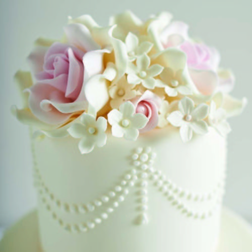 Elegant Iced Wedding Cake With Sugar Flowers