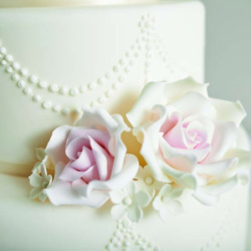 Elegant Wedding Cake With Sugar Flowers