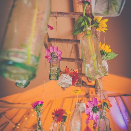 Vintage Bottles At Wedding