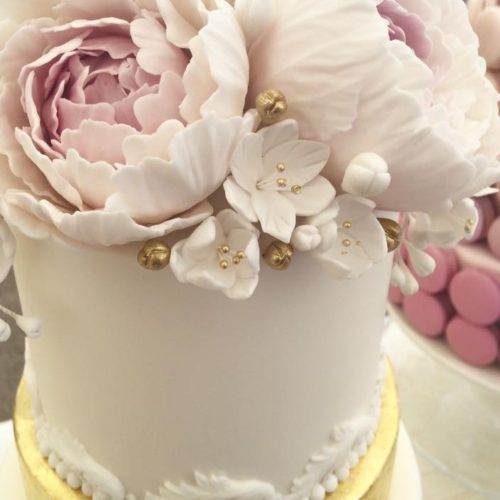 Gold And Peaony Cake By Victoria's Cake Company Leicestershire