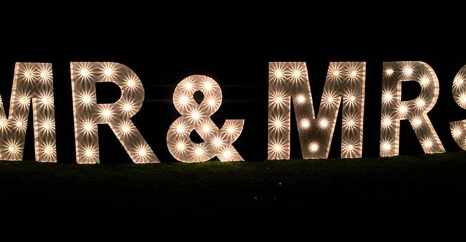Illuminated Letters MR & MRS, JMC Production UK, Leicestershire
