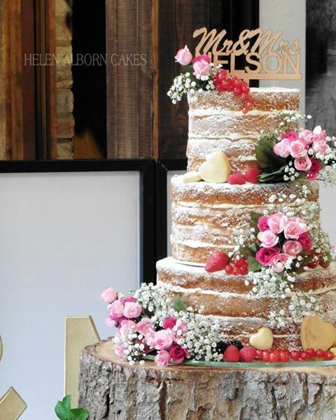 Naked Wedding Cake By Helen Alborn Cakes, Leicestershire