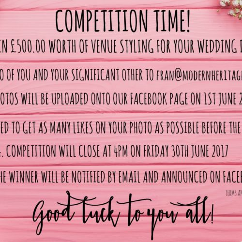 WIN £500 Worth Of Venue Styling For Your Wedding Day!