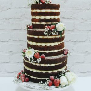 Just Delivered From Cottonwood…this Beautiful Red & White Naked Wedding Cake