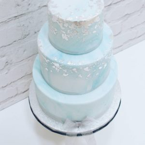 Aqua Marble & Edible Silver Leaf Wedding Cake- From £240