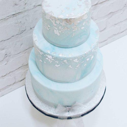 Aqua Marble & Edible Silver Leaf Wedding Cake- From £240