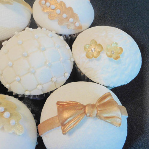 Ivory, Gold And Pearl Cupcakes For Andy & Jag At The Old Stables, Swithland