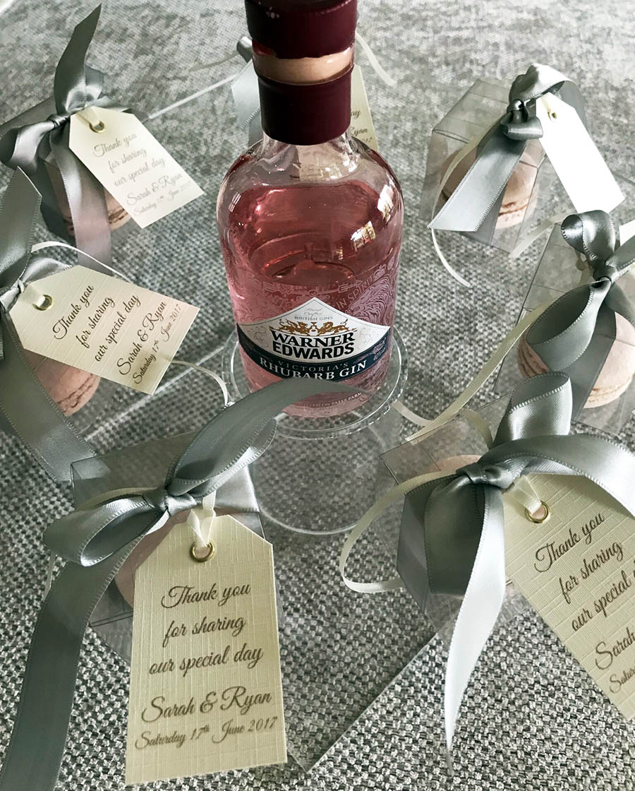 Rhubarb Gin Wedding Favours For Sarah & Ryan At Prestwold Hall, Leicestershire
