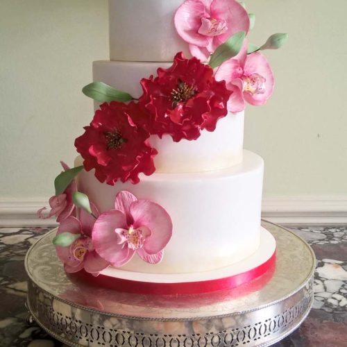 Orchids & Peonies Wedding Cake By Gardner Cakes