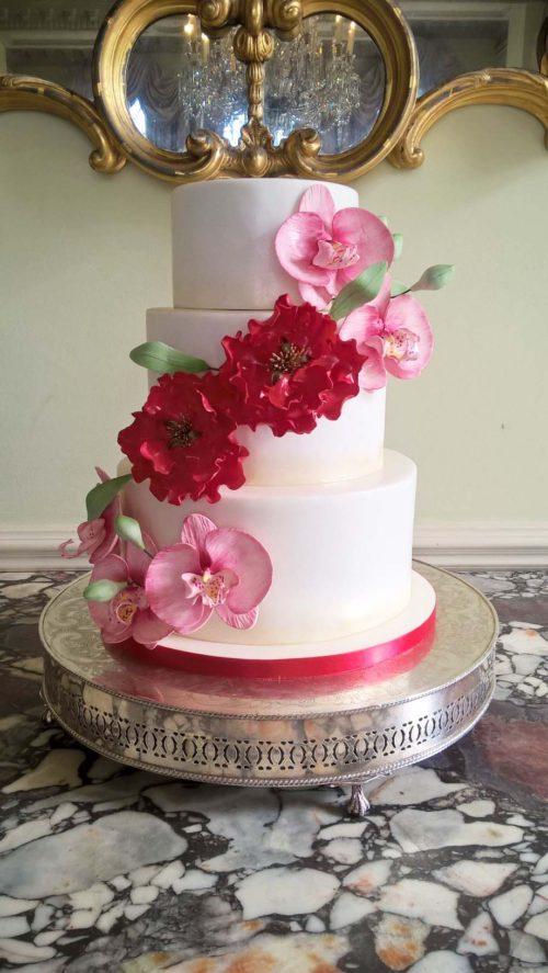 Orchid & Peony Wedding Cake By Gardner Cakes Nottingham