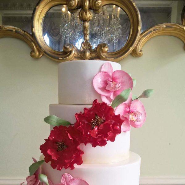 Orchids & Peonies Wedding Cake By Gardner Cakes