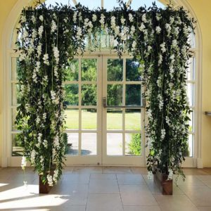 Waterfall Inspired Archway Of Flowers For Laura & Michael By Bradgate Flowers