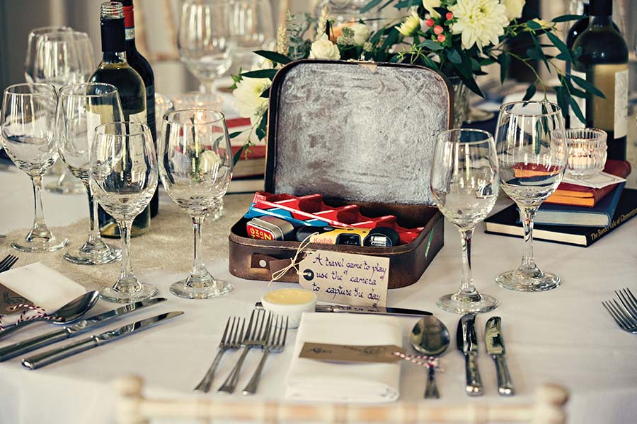 Real Wedding, Prestwold Hall, Dottie Photography, Vintage Suitcase