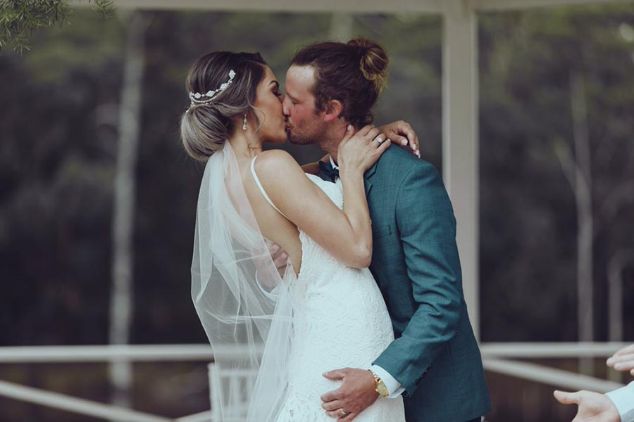 Vanessa & Chris Real Wedding In Australia. A Blend Of Boho, Vintage And Rustic Vibes With Lace Wedding Dress And Veil.