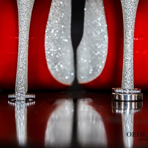 Wedding Rings With The Bride's Louboutin Shoes - Oehlers Photography | Nottingham Wedding Photographer