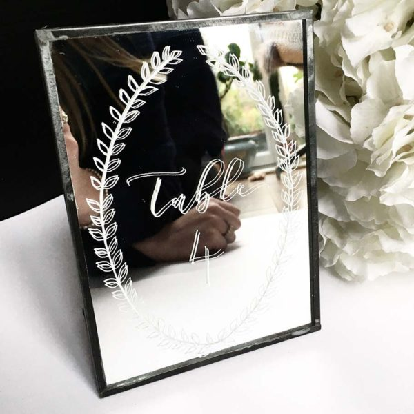 Mirrored Calligraphy Table Number