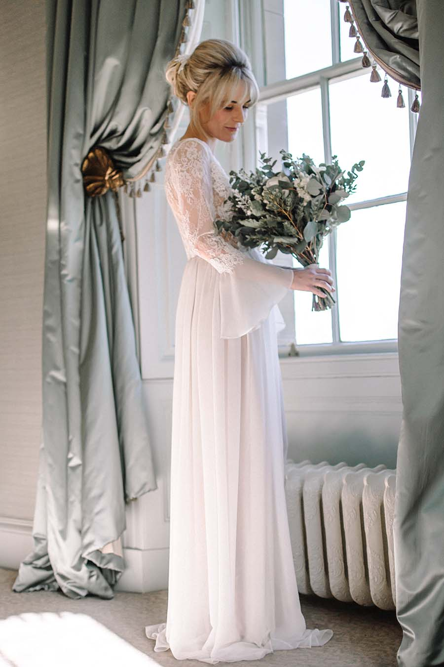 Long Sheer Lace Wedding Robe