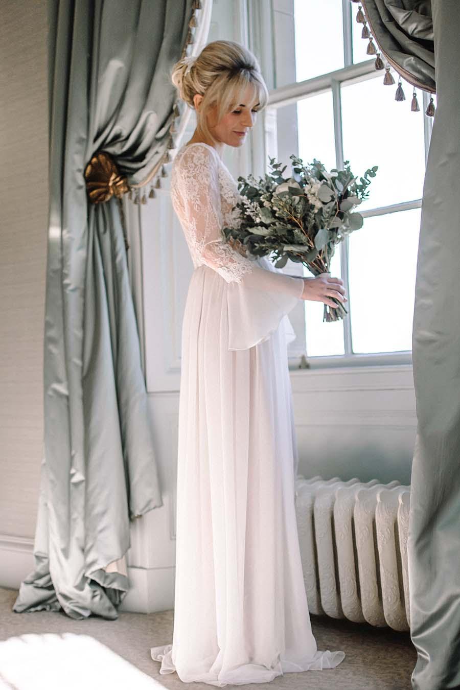 Long Sheer Lace Wedding Robe