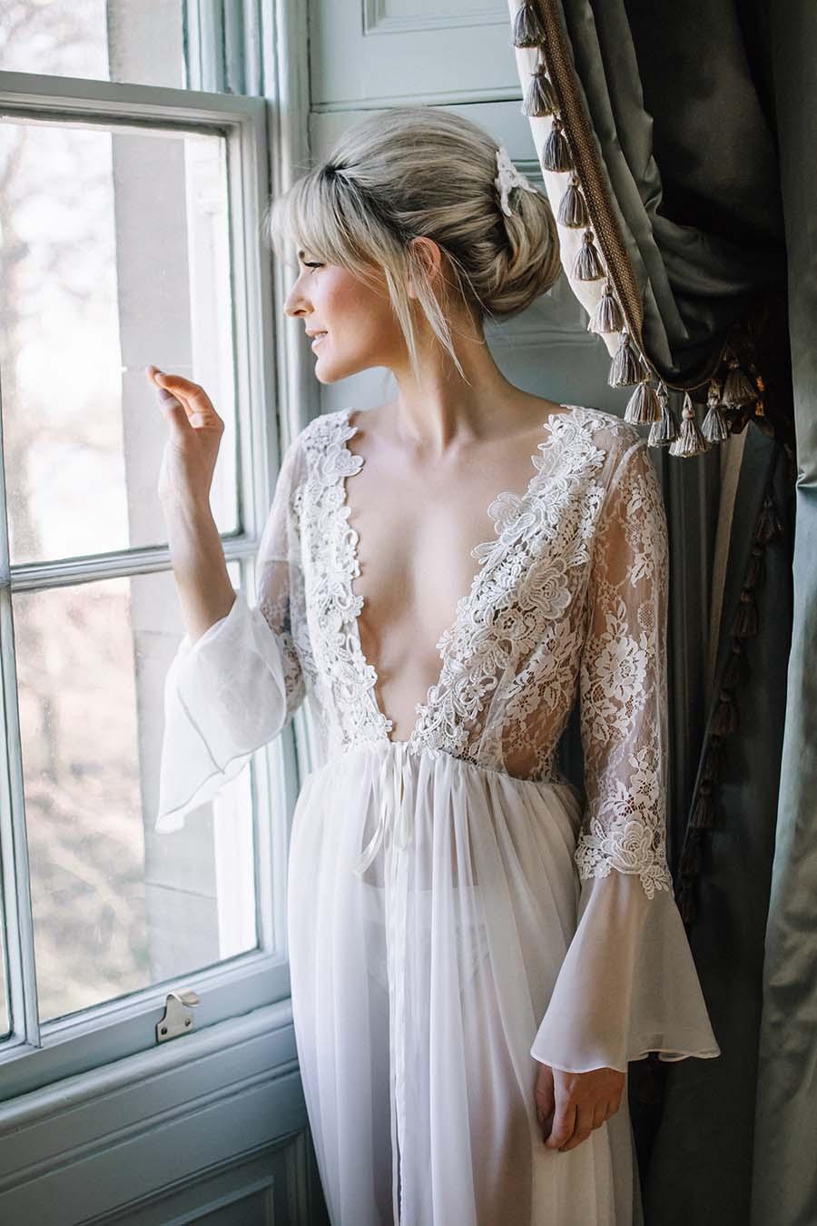 Sheer Lace Wedding Robe