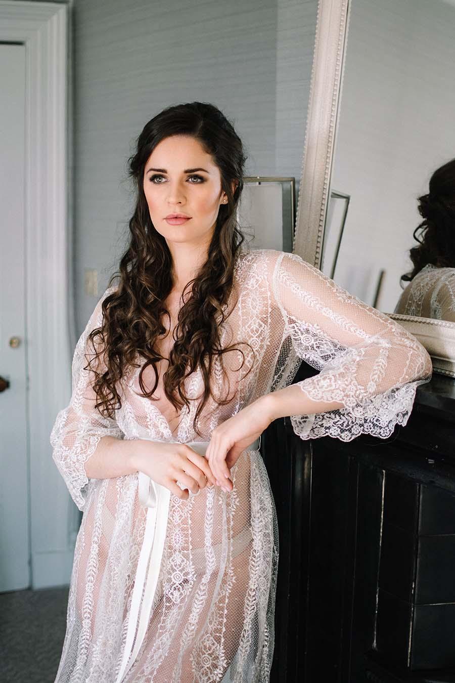 Sheer Lace Bridal Robe