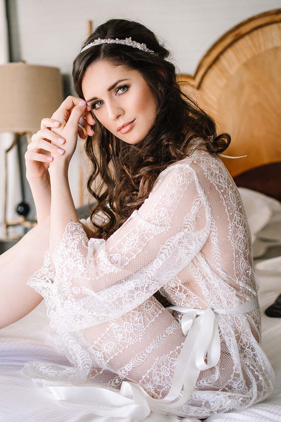 Sheer Lace Wedding Robe