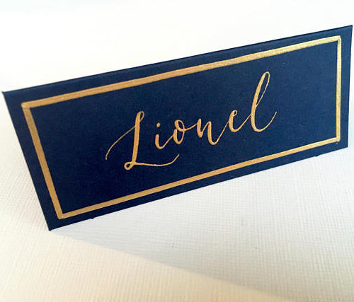 Navy With Gold Edge Wedding Place Card
