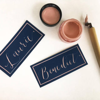 Navy Place Cards With Ink And Calligraphy Pen