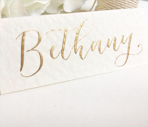 Cream And Gold Wedding Place Card