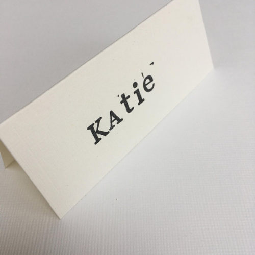 White And Black Script Place Card