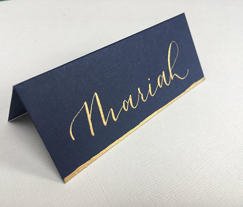 Navy And Gold Wedding Place Card
