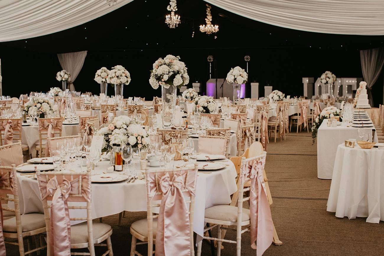 inside a marquee set for a wedding